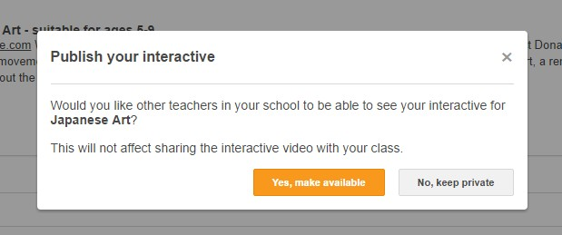 ClickView prompt before publishing an interactive video