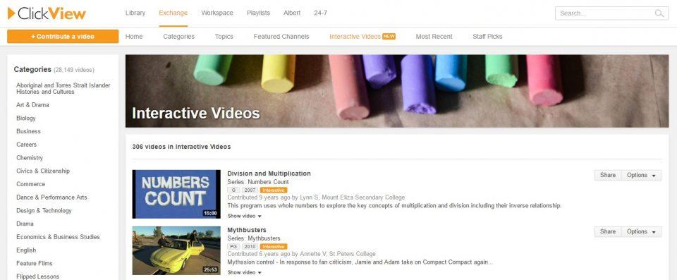 Interactive videos ClickView Exchange