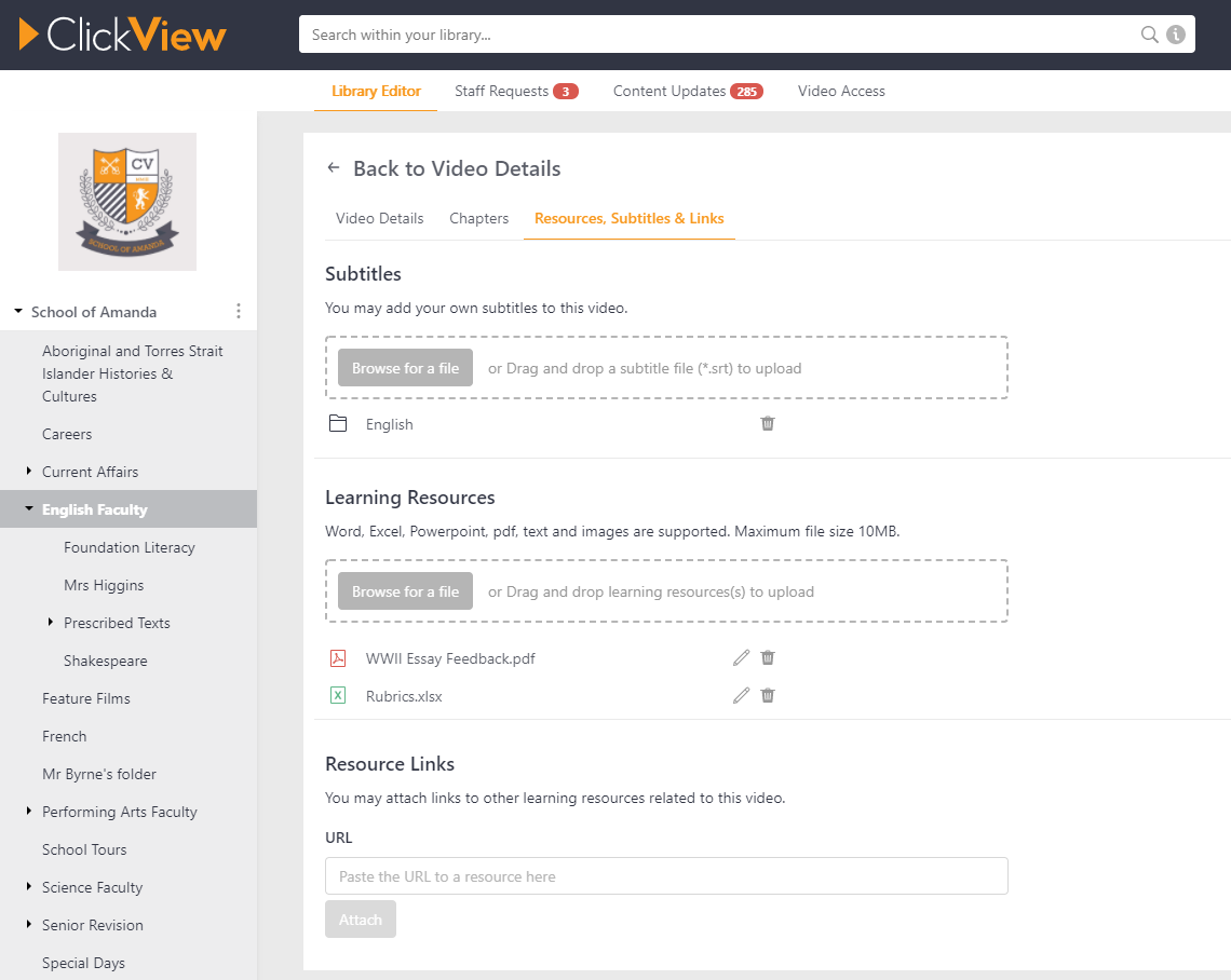 Attach your own resources to ClickView videos